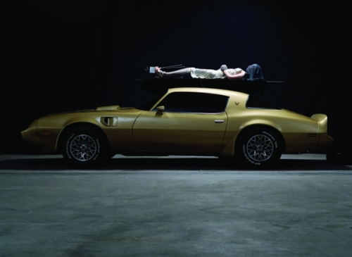 Production still for River of Fundament. Mullins on top of Norman's third reincarnation - wearing the prosthetic legs from Cremaster 3.